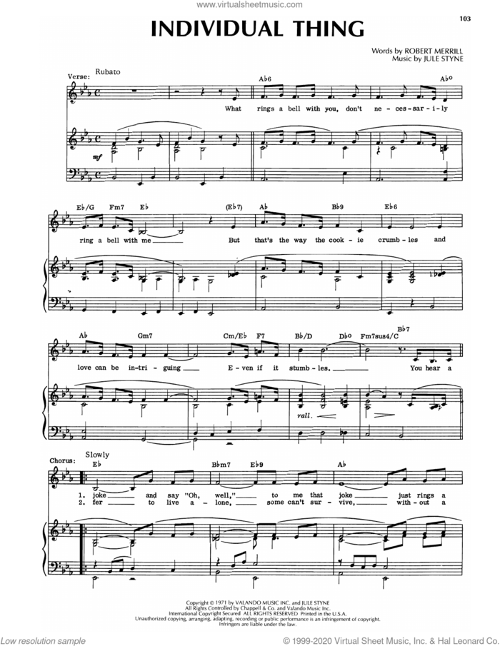 Individual Thing sheet music for voice and piano by Jule Styne and Robert Merrill and Jule Styne and Robert Merrill, intermediate skill level