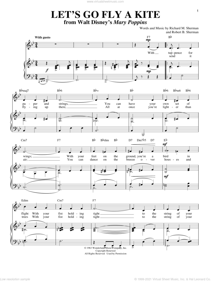 Let's Go Fly A Kite sheet music for voice and piano by Sherman Brothers, Richard M. Sherman and Robert B. Sherman, intermediate skill level