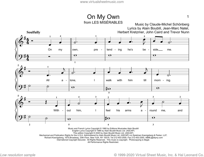 On My Own (from Les Miserables) (arr. Christopher Hussey) sheet music for piano solo (elementary) by Alain Boublil, Christopher Hussey, Alain Boublil & Claude-Michel Schonberg, Claude-Michel Schonberg, Herbert Kretzmer, Jean-Marc Natel, John Caird and Trevor Nunn, beginner piano (elementary)