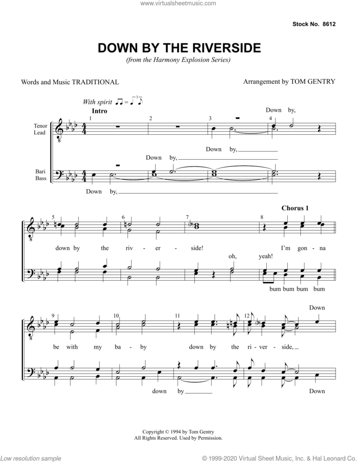 Down By The Riverside (arr. Tom Gentry) sheet music for choir (TTBB: tenor, bass)  and Tom Gentry, intermediate skill level