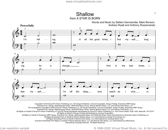 Shallow (from A Star Is Born) sheet music for piano solo (elementary) by Lady Gaga & Bradley Cooper, Bradley Cooper, John Thompson, Andrew Wyatt, Anthony Rossomando, Lady Gaga and Mark Ronson, beginner piano (elementary)