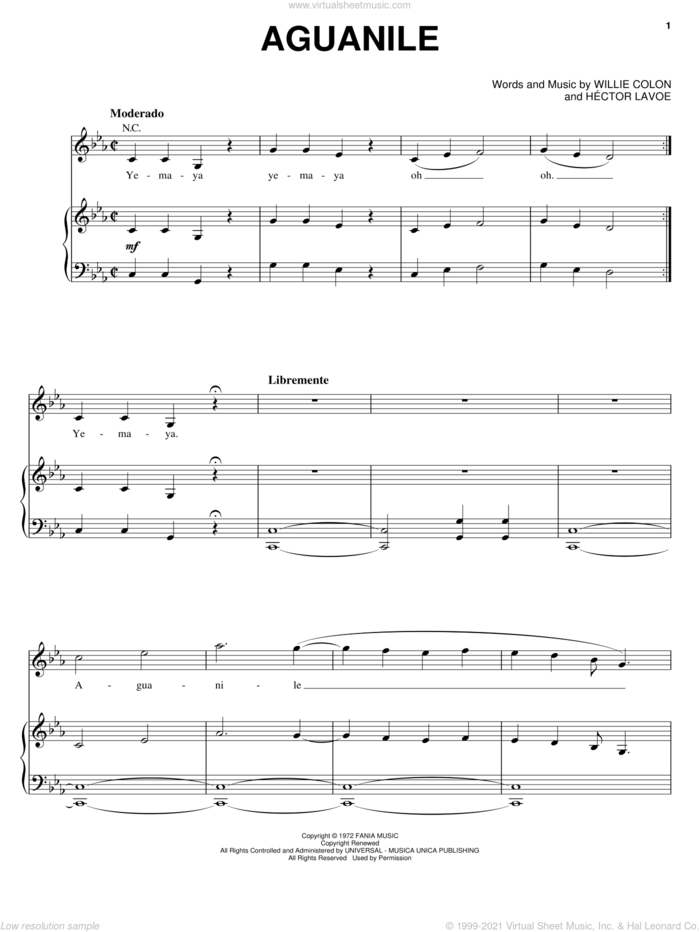 Aguanile sheet music for voice, piano or guitar by Hector Lavoe and Willie Colon, intermediate skill level