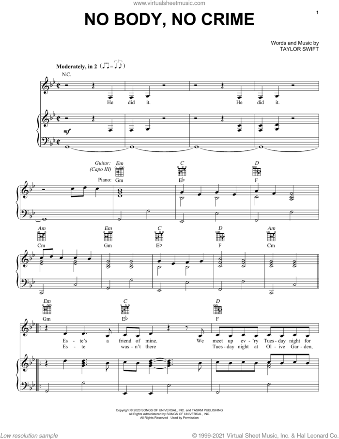 no body, no crime (feat. HAIM) sheet music for voice, piano or guitar by Taylor Swift, intermediate skill level