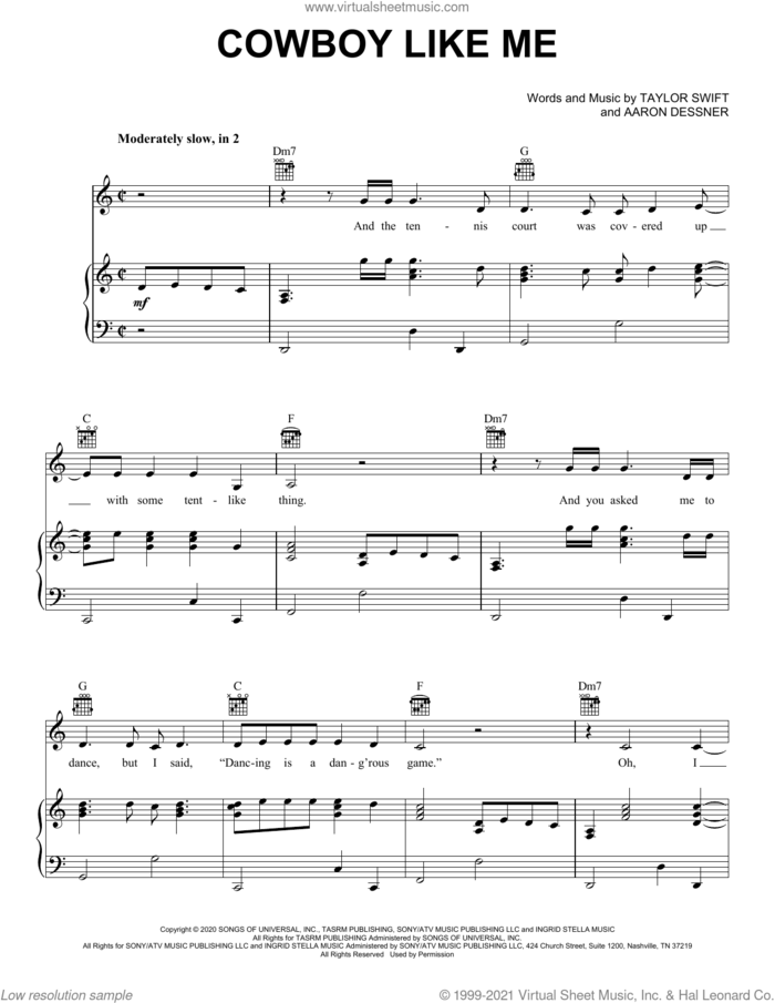 cowboy like me sheet music for voice, piano or guitar by Taylor Swift and Aaron Dessner, intermediate skill level