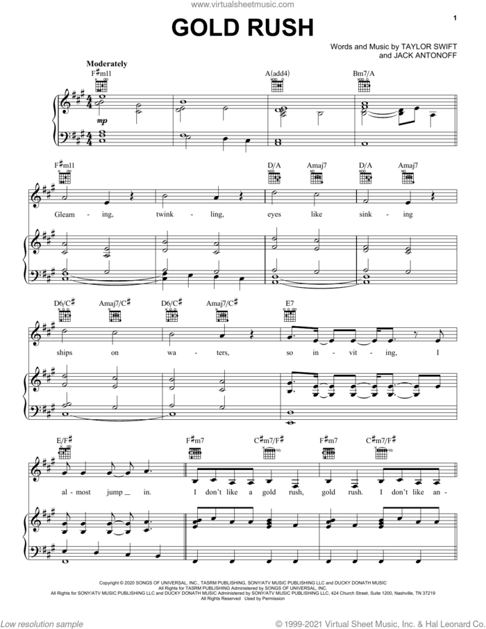 gold rush sheet music for voice, piano or guitar by Taylor Swift and Jack Antonoff, intermediate skill level
