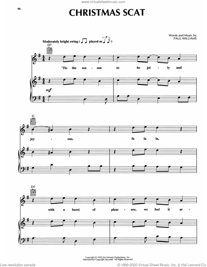 Christmas Scat (from The Muppet Christmas Carol) sheet music for voice, piano or guitar by Paul Williams, intermediate skill level