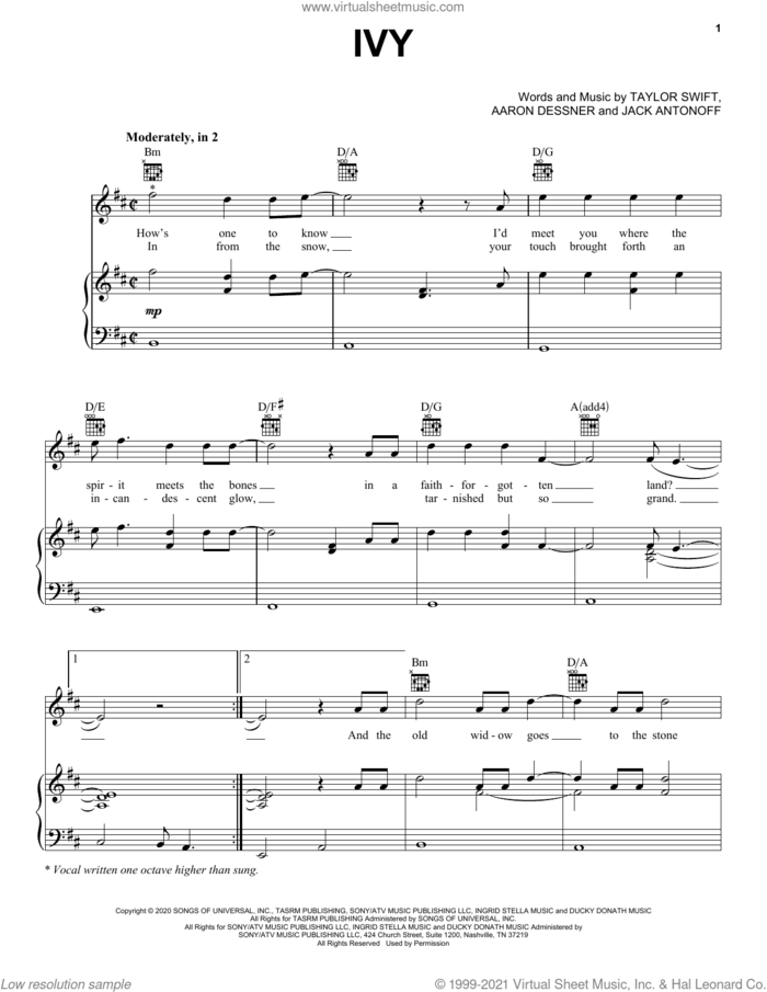 ivy sheet music for voice, piano or guitar by Taylor Swift, Aaron Dessner and Jack Antonoff, intermediate skill level
