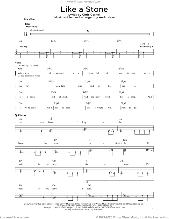 Like A Stone sheet music for bass solo by Audioslave and Chris Cornell, intermediate skill level