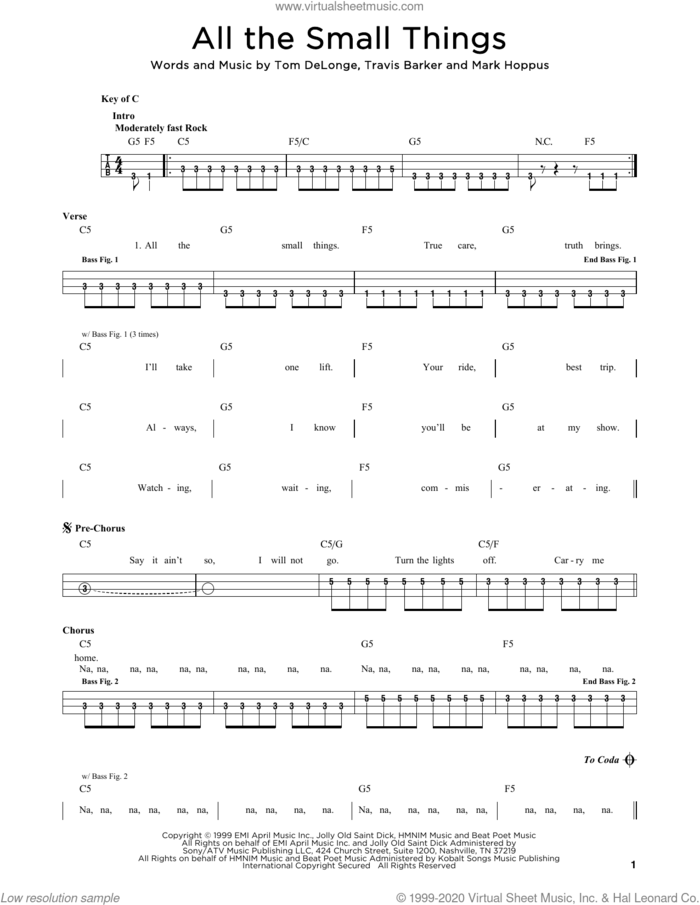 All The Small Things sheet music for bass solo by Blink 182, Mark Hoppus, Tom DeLonge and Travis Barker, intermediate skill level