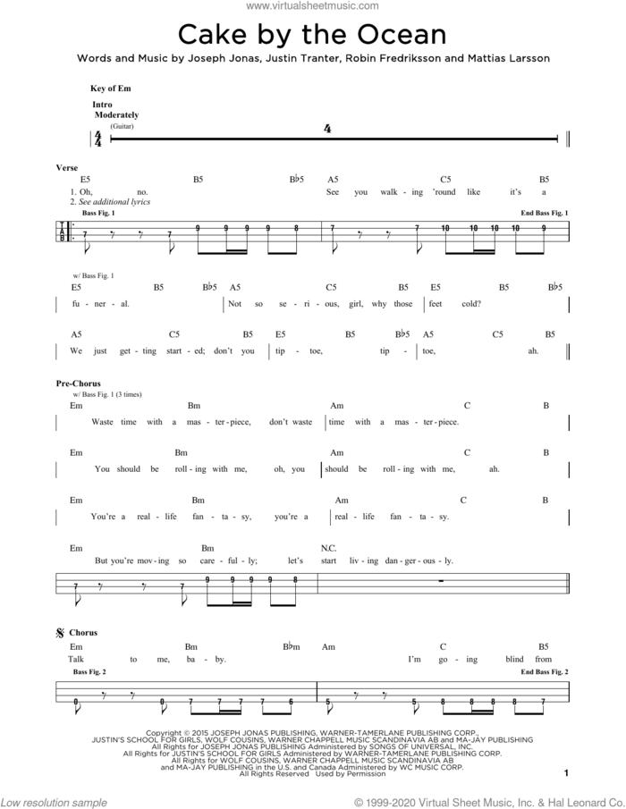 Cake By The Ocean sheet music for bass solo by DNCE, Joseph Jonas, Justin Tranter, Mattias Larsson and Robin Fredriksson, intermediate skill level