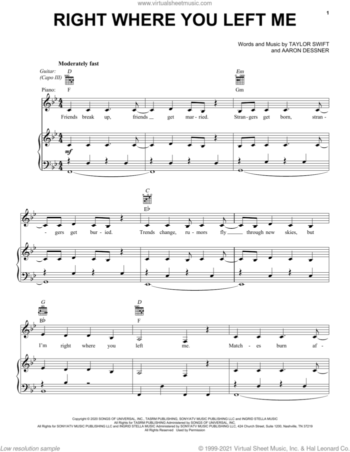 right where you left me sheet music for voice, piano or guitar by Taylor Swift and Aaron Dessner, intermediate skill level