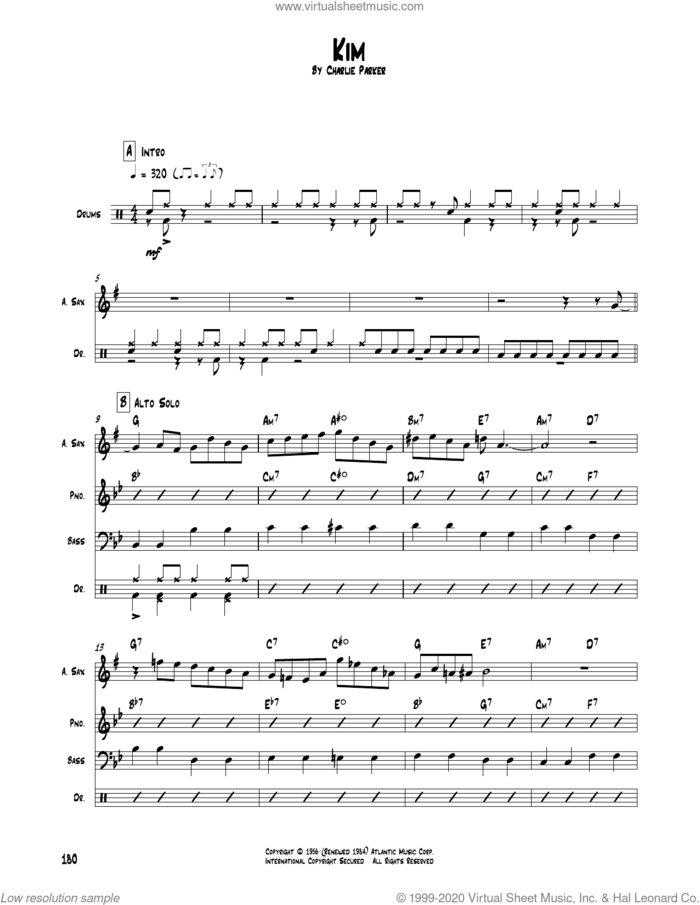 Kim sheet music for chamber ensemble (Transcribed Score) by Charlie Parker, intermediate skill level