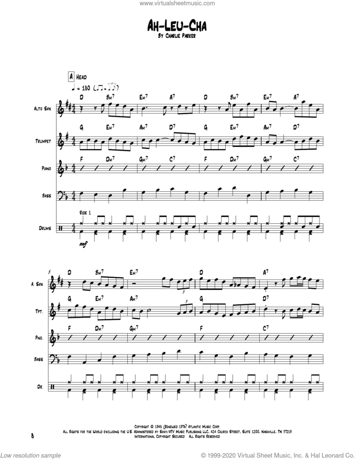 Ah-Leu-Cha sheet music for chamber ensemble (Transcribed Score) by Charlie Parker, intermediate skill level