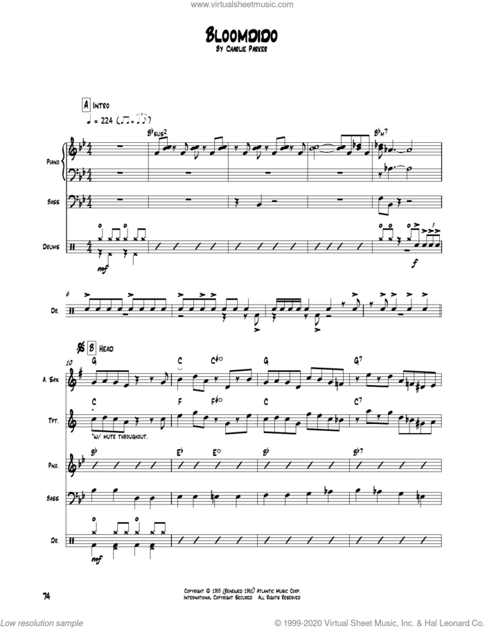 Bloomdido sheet music for chamber ensemble (Transcribed Score) by Charlie Parker, intermediate skill level
