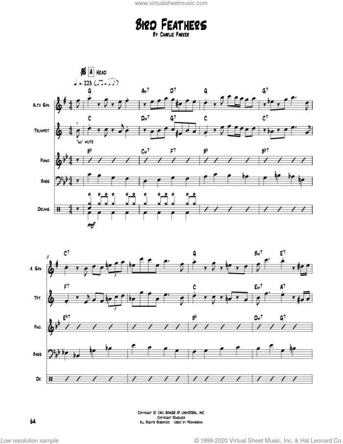 Bird Feathers sheet music for chamber ensemble (Transcribed Score) by Charlie Parker, intermediate skill level