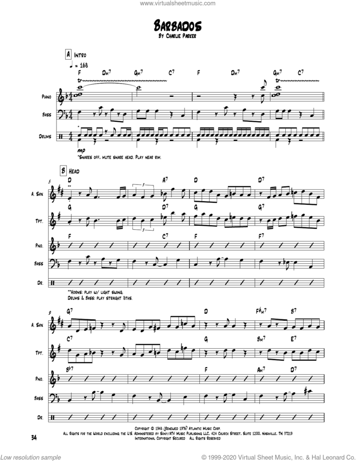 Barbados sheet music for chamber ensemble (Transcribed Score) by Charlie Parker, intermediate skill level
