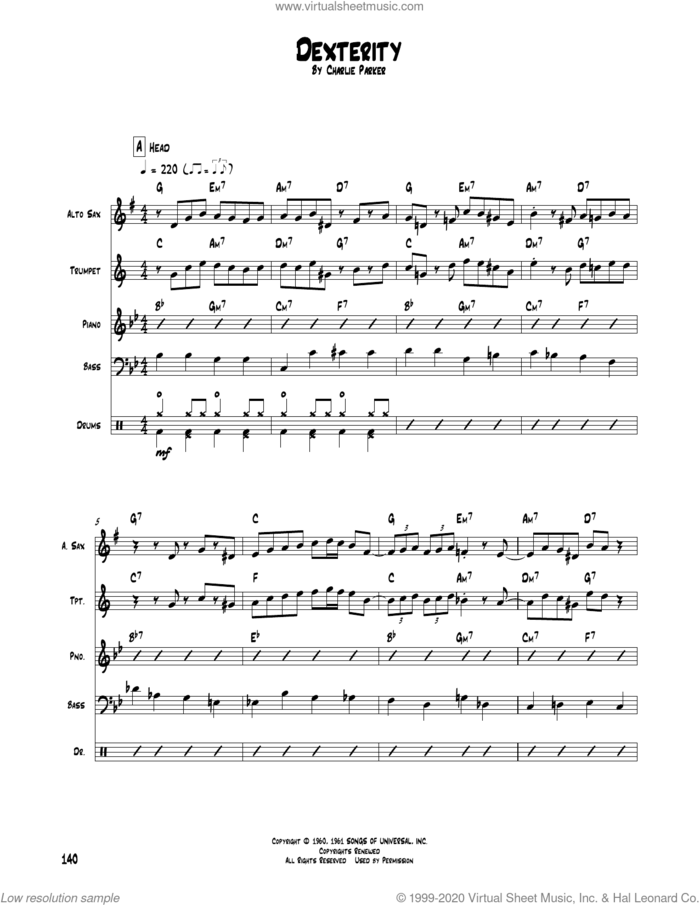 Dexterity sheet music for chamber ensemble (Transcribed Score) by Charlie Parker, intermediate skill level
