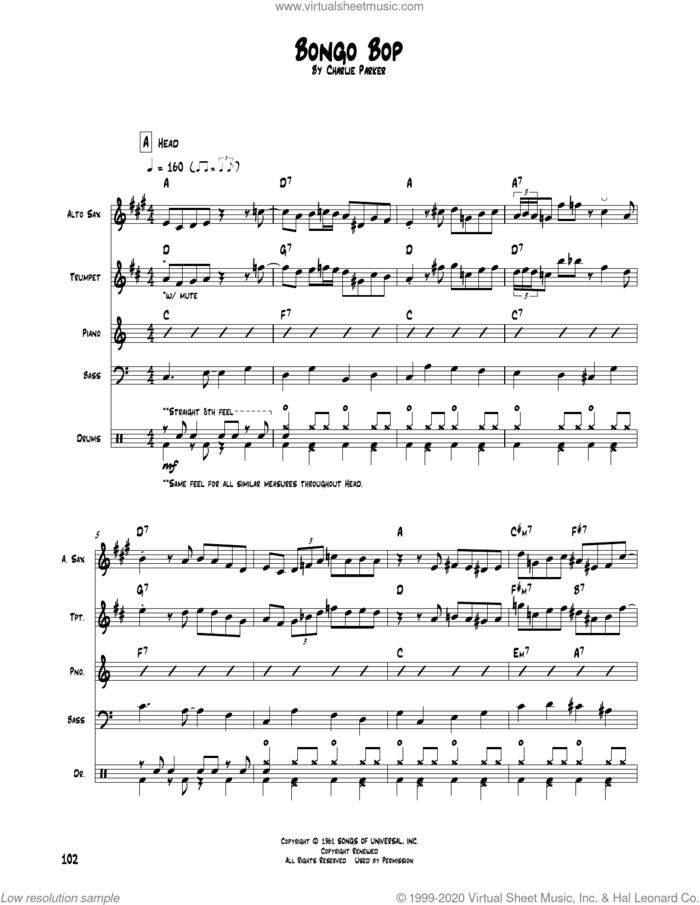 Bongo Bop sheet music for chamber ensemble (Transcribed Score) by Charlie Parker, intermediate skill level