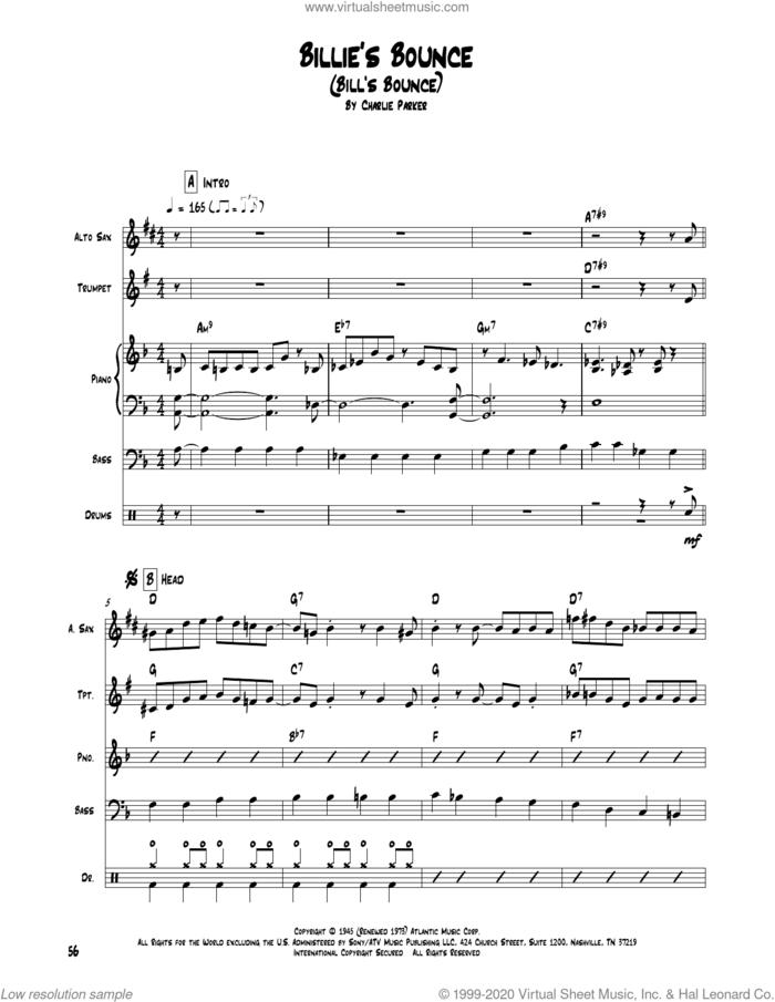 Billie's Bounce (Bill's Bounce) sheet music for chamber ensemble (Transcribed Score) by Charlie Parker, intermediate skill level