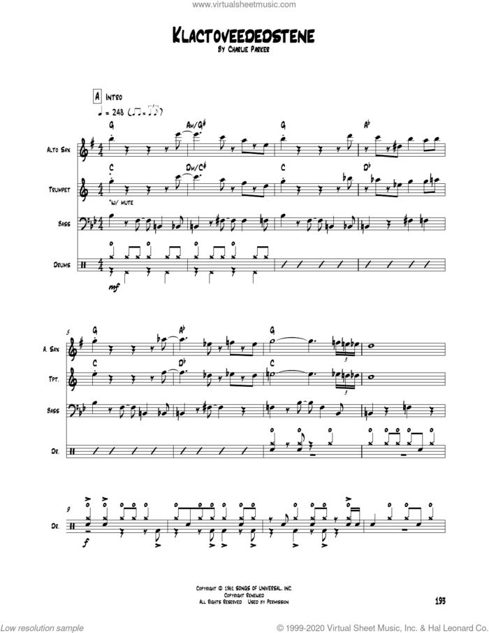 Klactoveededstene sheet music for chamber ensemble (Transcribed Score) by Charlie Parker, intermediate skill level