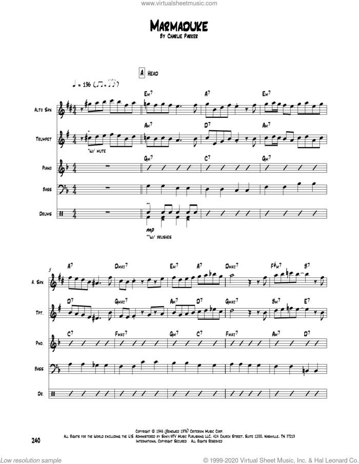 Marmaduke sheet music for chamber ensemble (Transcribed Score) by Charlie Parker, intermediate skill level