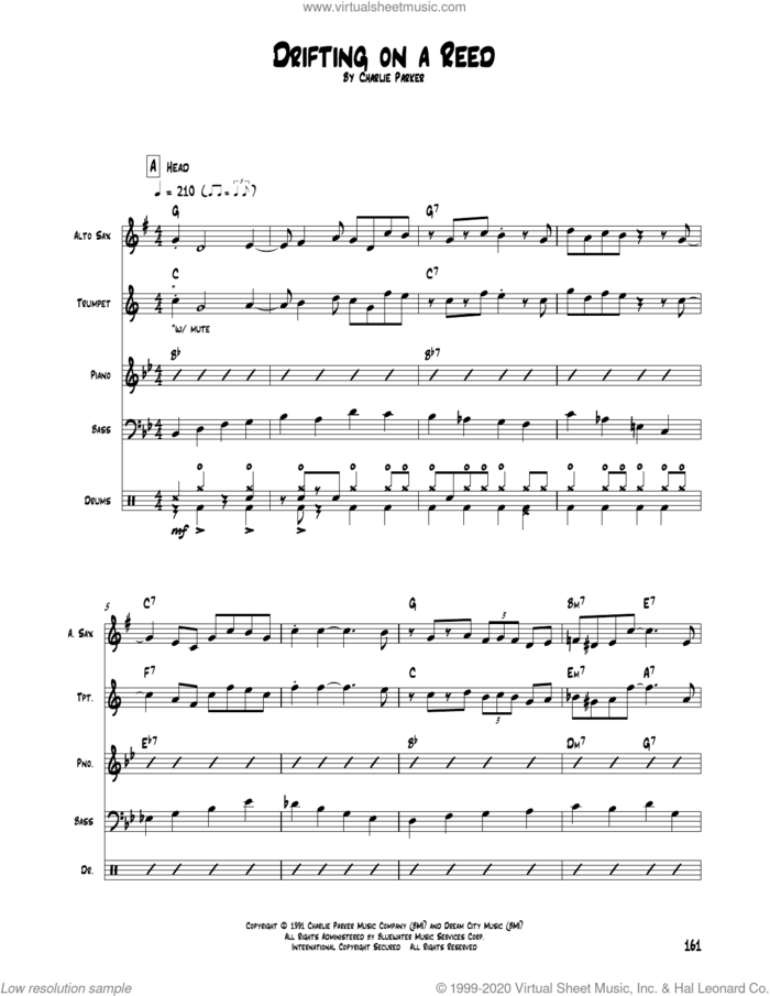 Drifting On A Reed sheet music for chamber ensemble (Transcribed Score) by Charlie Parker, intermediate skill level