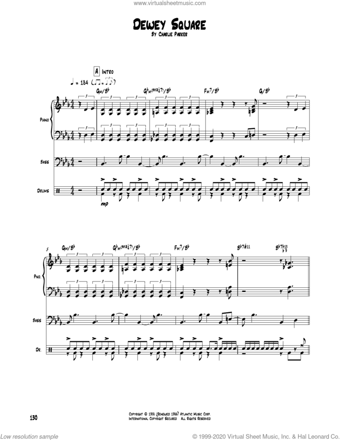 Dewey Square sheet music for chamber ensemble (Transcribed Score) by Charlie Parker, intermediate skill level