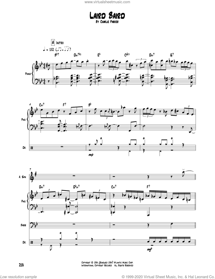 Laird Baird sheet music for chamber ensemble (Transcribed Score) by Charlie Parker, intermediate skill level