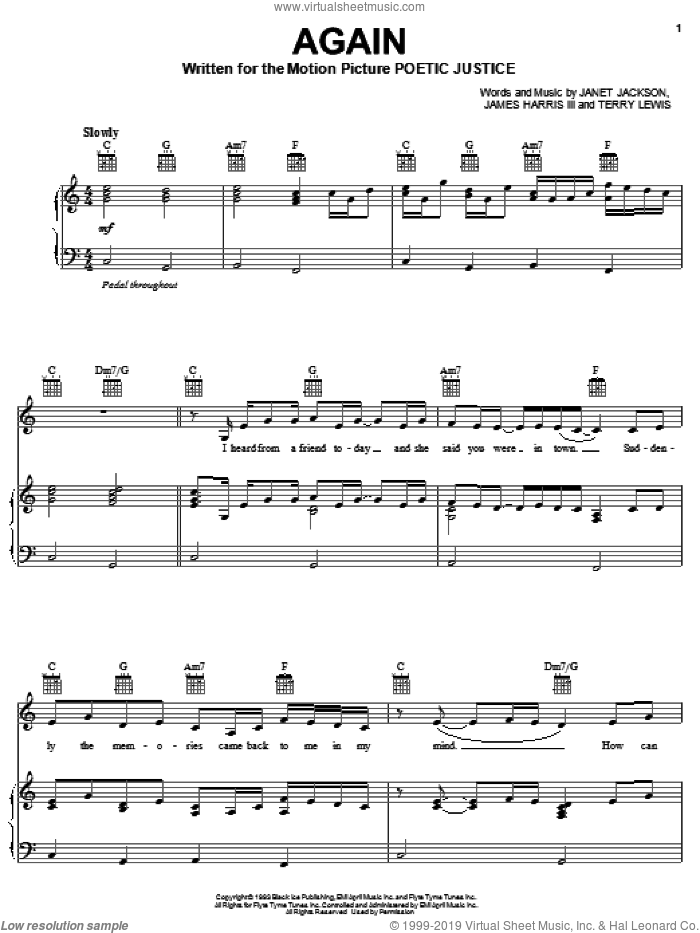 Again sheet music for voice, piano or guitar by Janet Jackson, James Harris and Terry Lewis, intermediate skill level