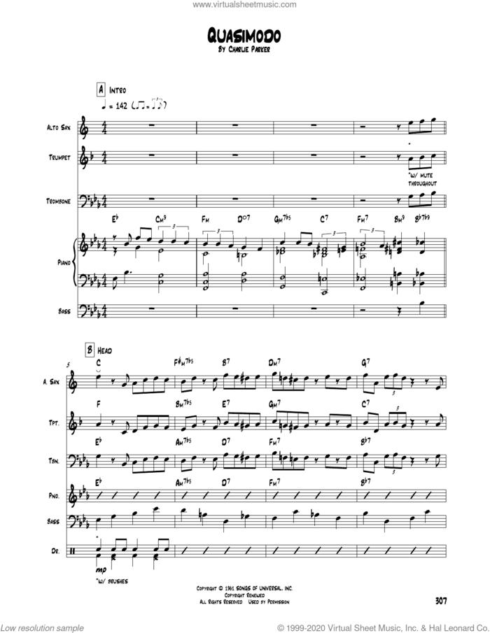 Quasimodo sheet music for chamber ensemble (Transcribed Score) by Charlie Parker, intermediate skill level