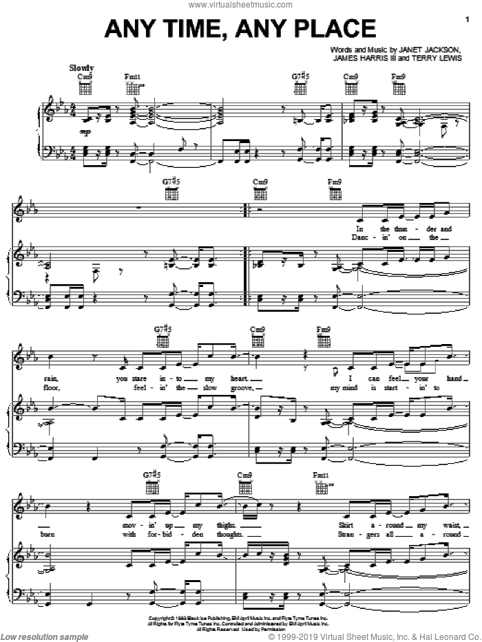 Any Time, Any Place sheet music for voice, piano or guitar by Janet Jackson, James Harris and Terry Lewis, intermediate skill level