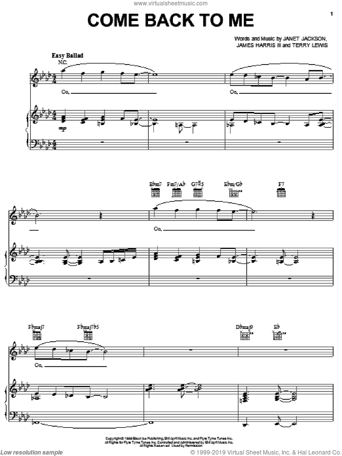 Come Back To Me sheet music for voice, piano or guitar by Janet Jackson, James Harris and Terry Lewis, intermediate skill level