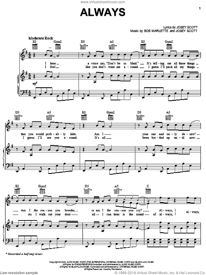 Always sheet music for voice, piano or guitar by Saliva, Bob Marlette and Josey Scott, intermediate skill level
