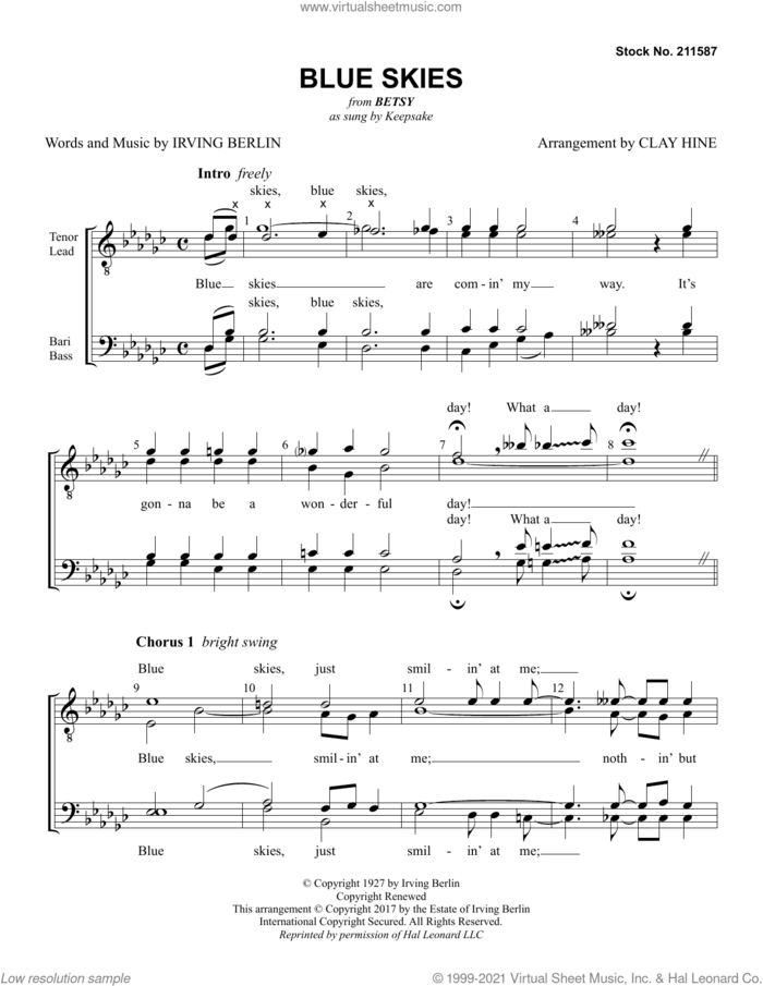 Blue Skies (from Betsy) (arr. Clay Hine) sheet music for choir (TTBB: tenor, bass) by Keepsake, Clay Hine and Irving Berlin, intermediate skill level