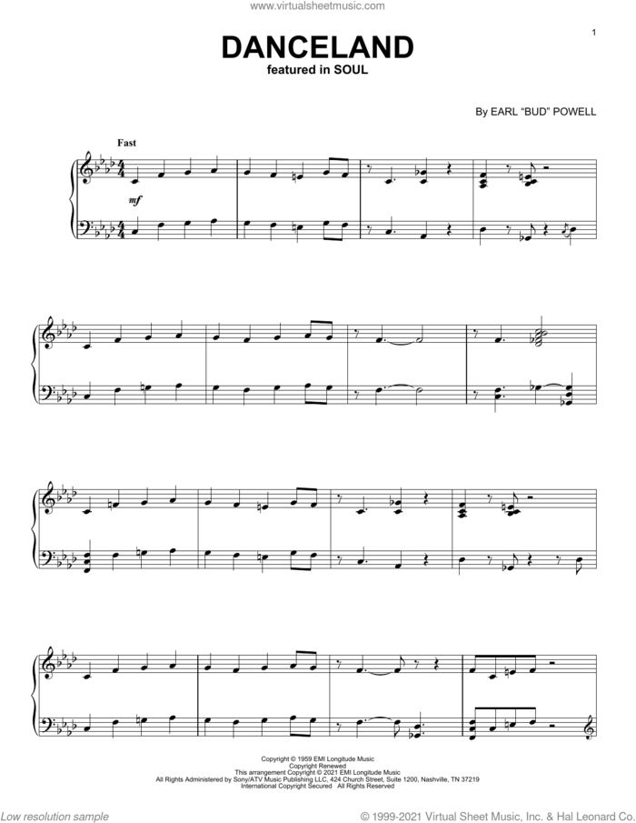 Danceland (from Soul) sheet music for piano solo by Jon Batiste and Bud Powell, intermediate skill level