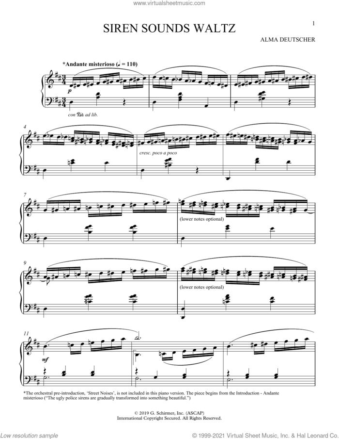 Siren Sounds Waltz (I-VI) sheet music for piano solo by Alma Deutscher, classical score, intermediate skill level