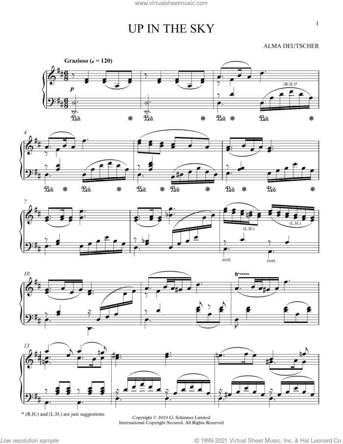 Up In The Sky (from Cinderella) sheet music for piano solo by Alma Deutscher, classical score, intermediate skill level