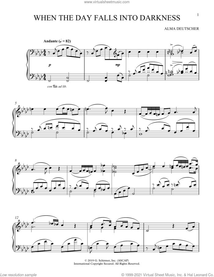 When The Day Falls Into Darkness (from Cinderella) sheet music for piano solo by Alma Deutscher, classical score, intermediate skill level