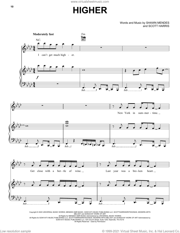 Higher sheet music for voice, piano or guitar by Shawn Mendes and Scott Harris, intermediate skill level