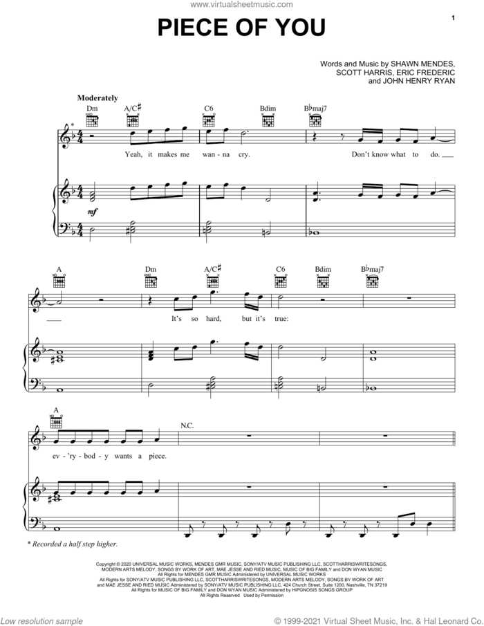 Piece Of You sheet music for voice, piano or guitar by Shawn Mendes, Eric Frederic, John Henry Ryan and Scott Harris, intermediate skill level
