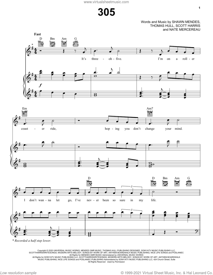 305 sheet music for voice, piano or guitar by Shawn Mendes, Nate Mercereau, Scott Harris and Tom Hull, intermediate skill level
