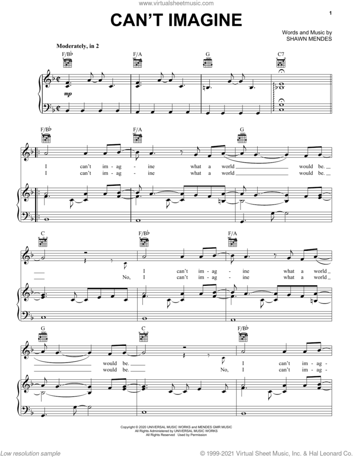 Can't Imagine sheet music for voice, piano or guitar by Shawn Mendes, intermediate skill level