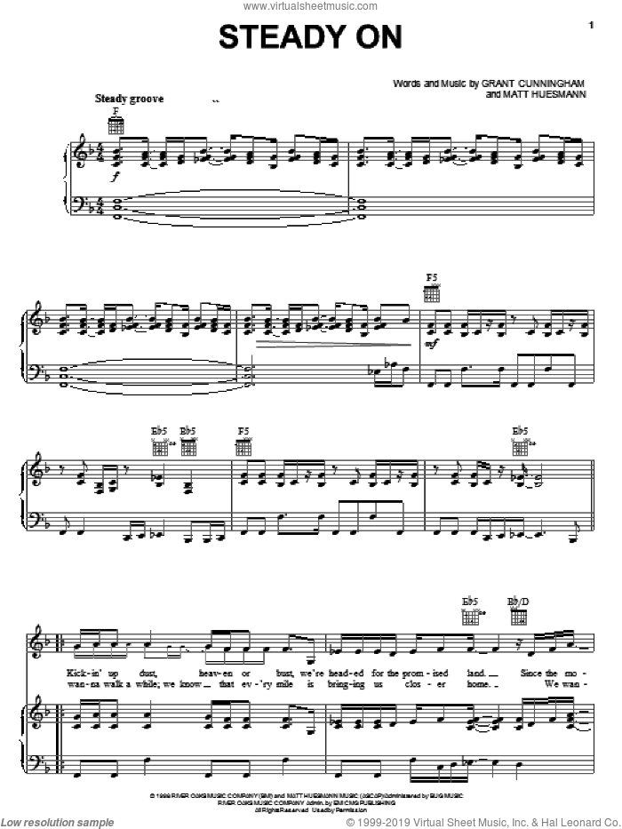 Steady On sheet music for voice, piano or guitar by Point Of Grace, Grant Cunningham and Matt Huesmann, intermediate skill level