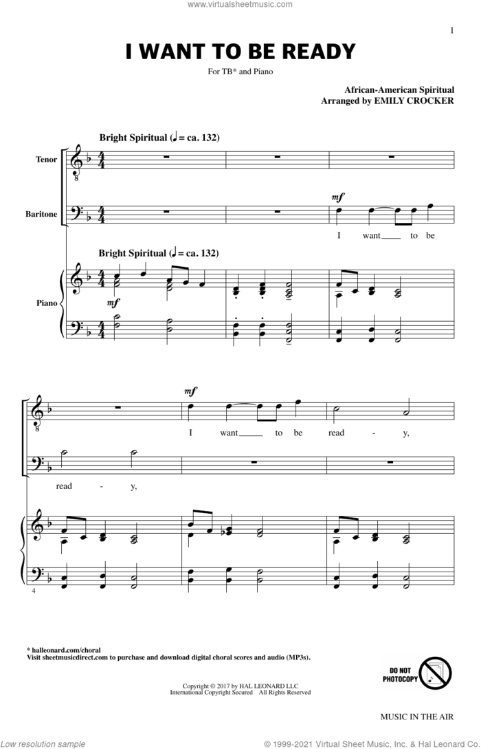 I Want To Be Ready (from Music In The Air) sheet music for choir (TB: tenor, bass) by Emily Crocker and Miscellaneous, intermediate skill level