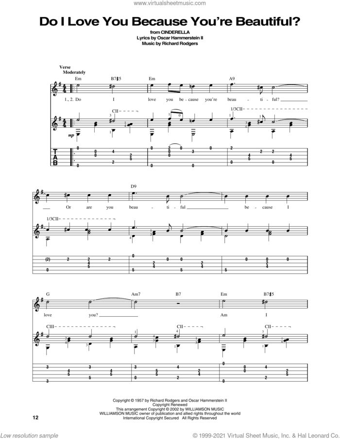 Do I Love You Because You're Beautiful? (from Cinderella) sheet music for guitar solo by Rodgers & Hammerstein, Tony Martin, Vic Damone, Oscar II Hammerstein and Richard Rodgers, intermediate skill level