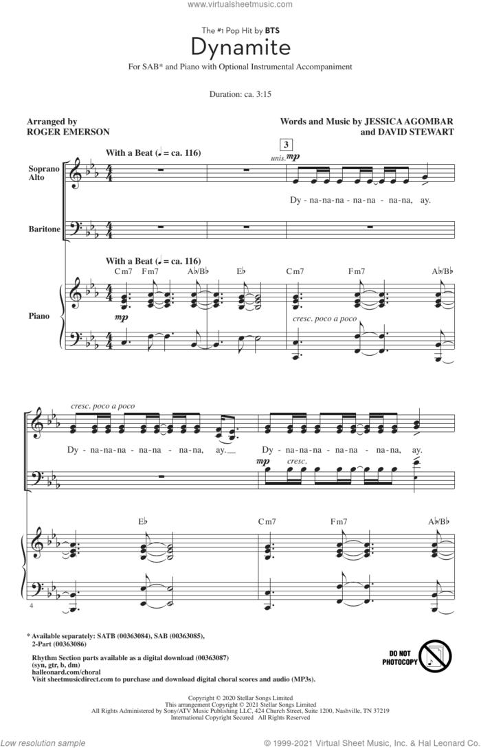 Dynamite (arr. Roger Emerson) sheet music for choir (SAB: soprano, alto, bass) by BTS, Roger Emerson, Dave Stewart and Jessica  Agombar, intermediate skill level