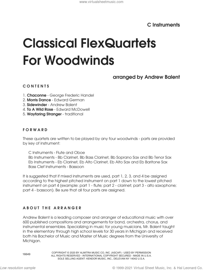 Classical Flexquartets For Woodwinds (complete set of parts) sheet music for wind quartet by Andrew Balent and Miscellaneous, classical score, intermediate skill level