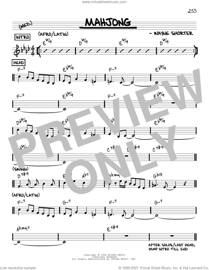Mahjong [Reharmonized version] (arr. Jack Grassel) sheet music for voice and other instruments (real book) by Wayne Shorter and Jack Grassel, intermediate skill level