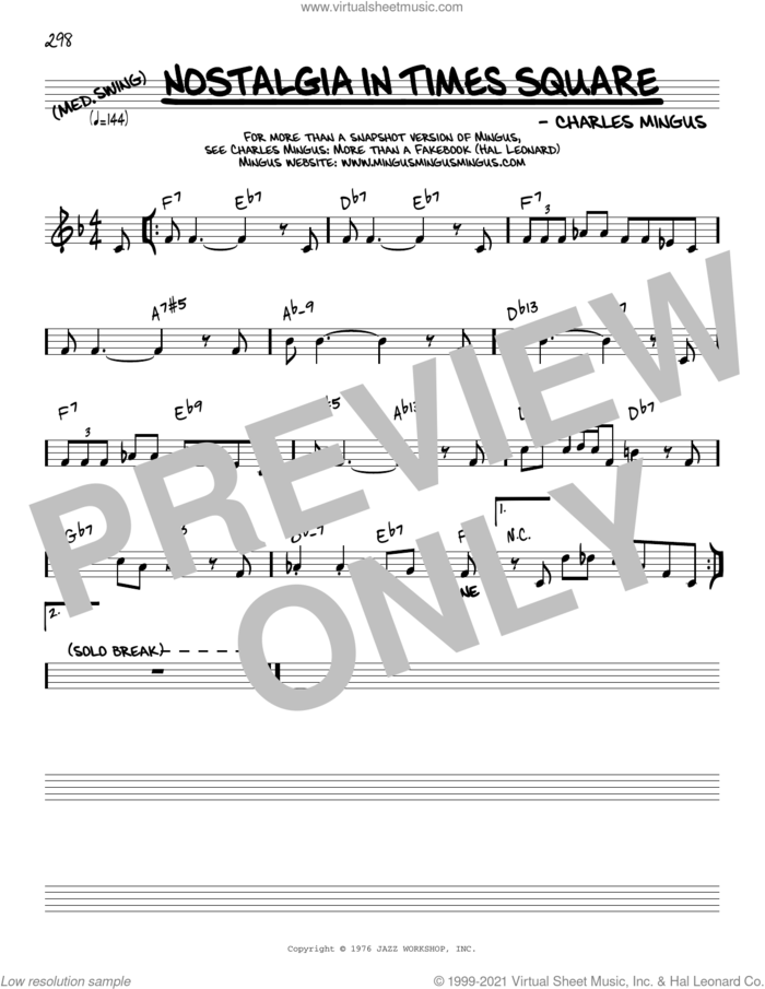 Nostalgia In Times Square [Reharmonized version] (arr. Jack Grassel) sheet music for voice and other instruments (real book) by Charles Mingus and Jack Grassel, intermediate skill level