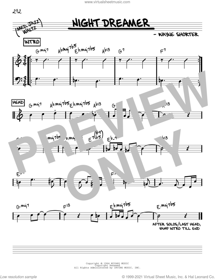 Night Dreamer [Reharmonized version] (arr. Jack Grassel) sheet music for voice and other instruments (real book) by Wayne Shorter and Jack Grassel, intermediate skill level